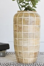 "12"" Wood Check Pattern Jar"