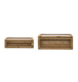 Rattan and Wood Box w/Glass Lid