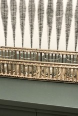 Rectangular Rattan Tray w/4 Lantern Glass
