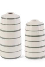 Ceramic Cream & Sage Green Stripe Vase