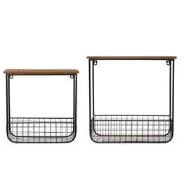 Metal and Wood Wall Shelf w/Basket