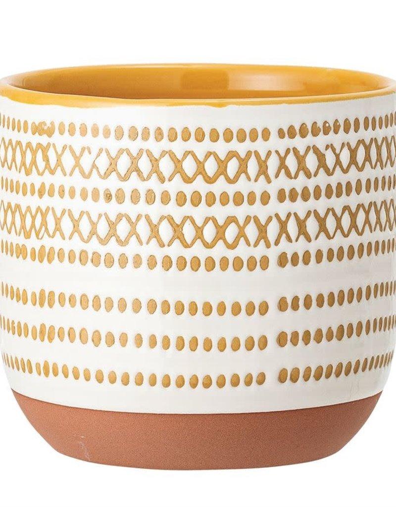 Cream and Mustard Stoneware Planter