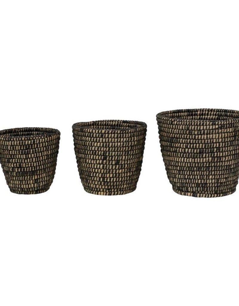 Round Hand Woven Grass Basket, Black