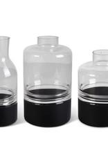 Clear Glass Vase, w/Black Bottom