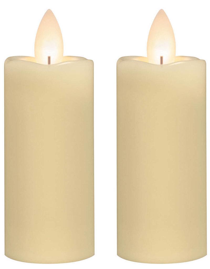 "3""H Slim Candle votive set/2, cream"