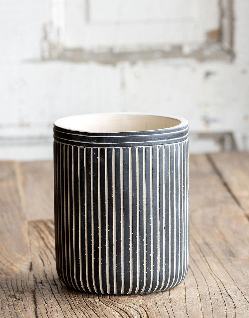 Pinstriped Cement Vessel