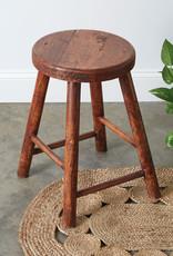 Vintage-Inspired Polished Wooden Stool