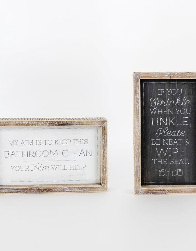 Tinkle/Aim wood sign