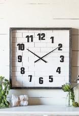 Square Wood Subway Tile Clock