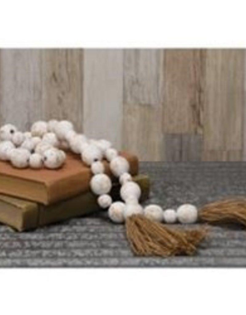 Distressed White Wood Bead Garland