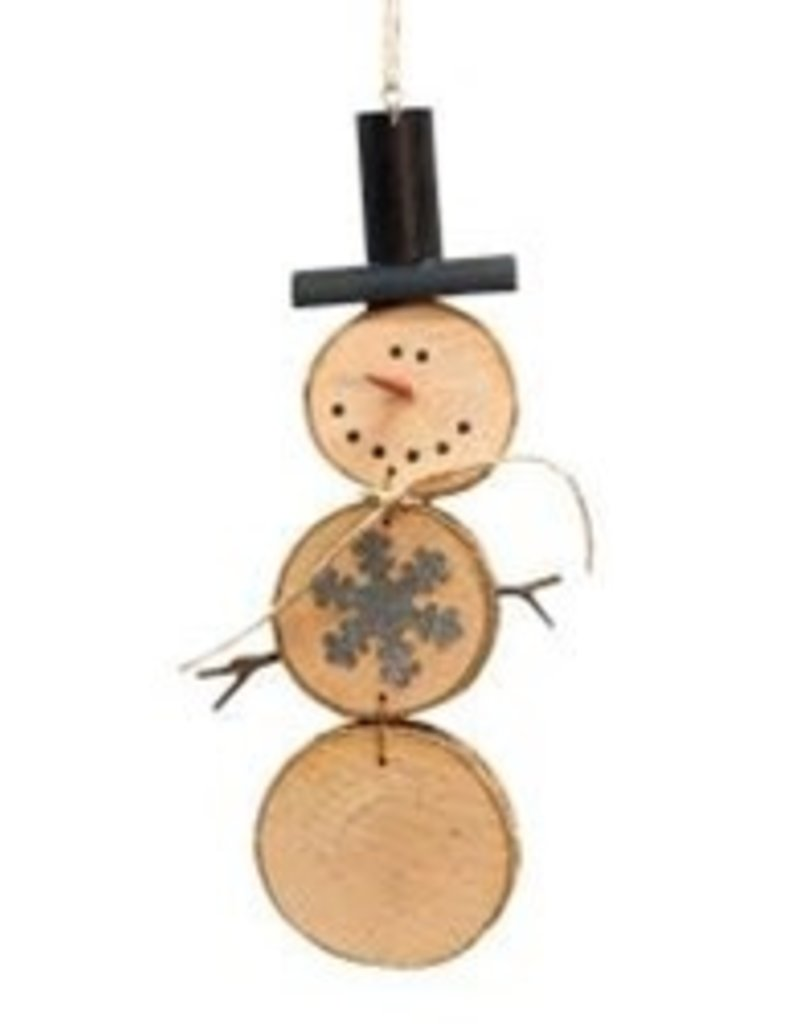 Wood Slice Snowman Ornament with Hat