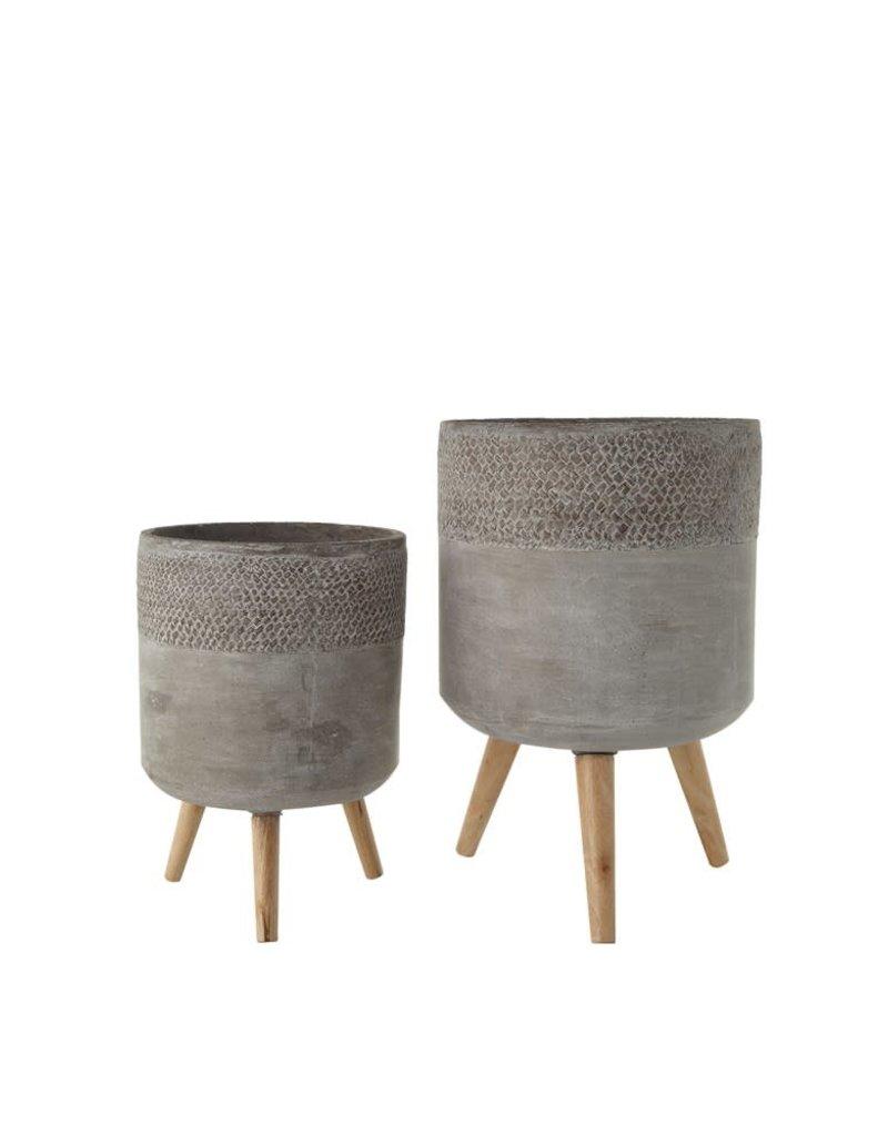 Cement Planter w/wood legs, round