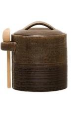 Stoneware Jar w/reactive glaze & wood spoon