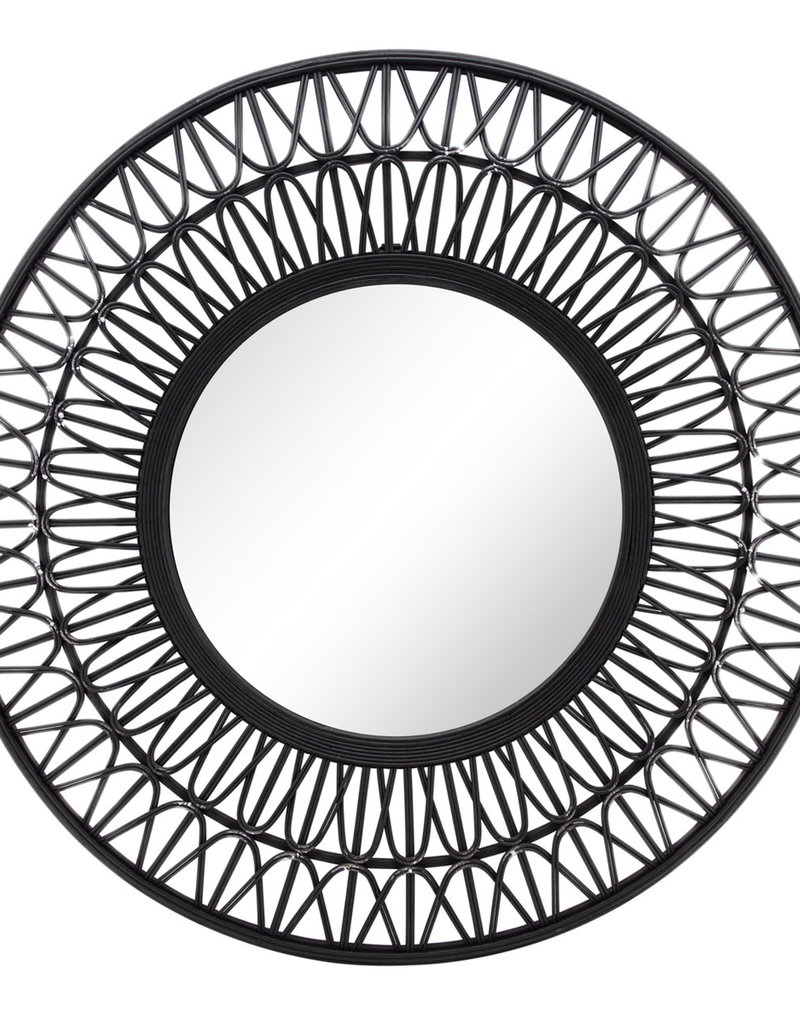 bamboo wall mirror black