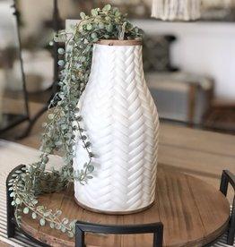 "10"" Chevron Vase, White"