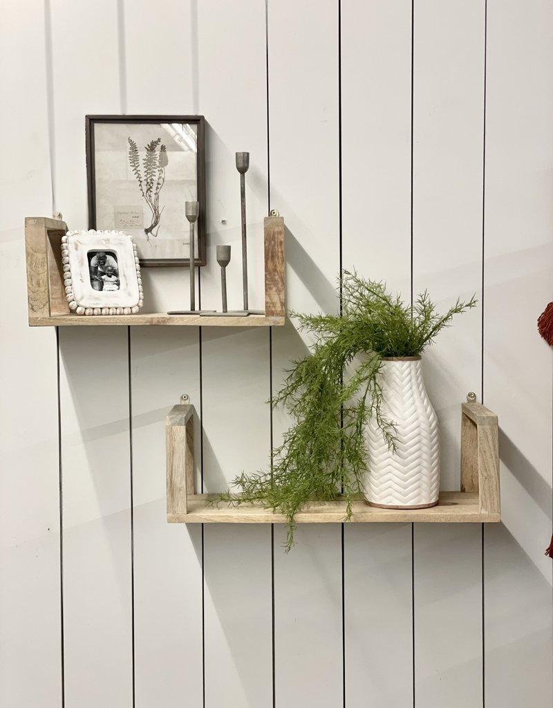 S/2 Wood Wall Shelf, Brown