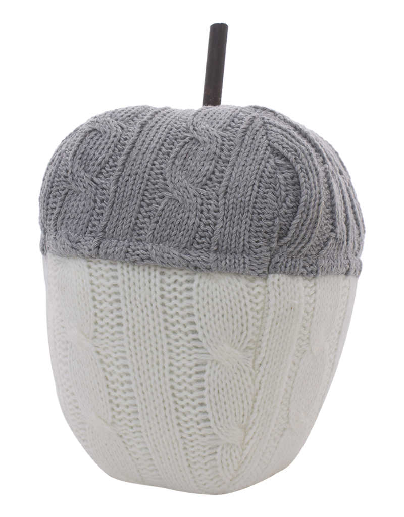 Grey & White Knit Acorn