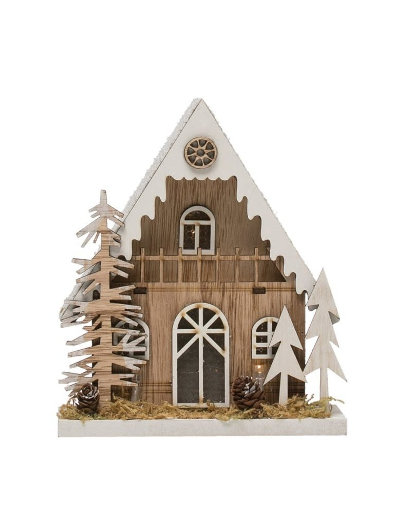 Wood LED House w/Trees