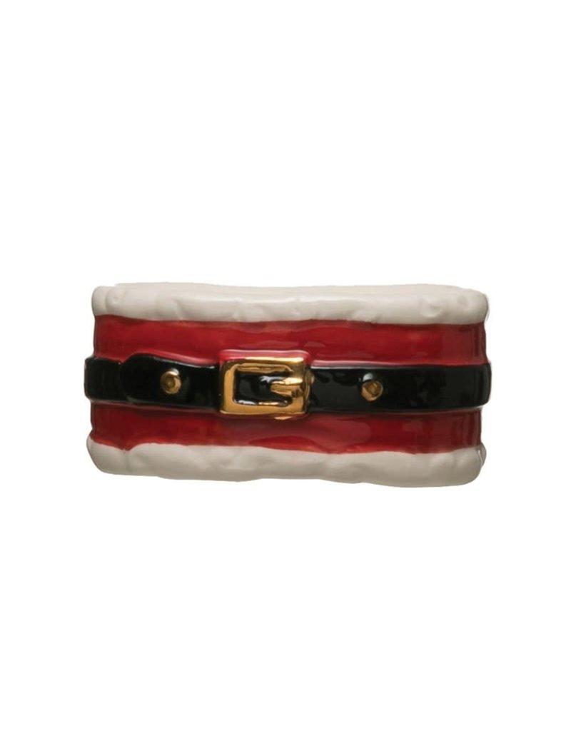 Stoneware Santa Belt Napkin RIng
