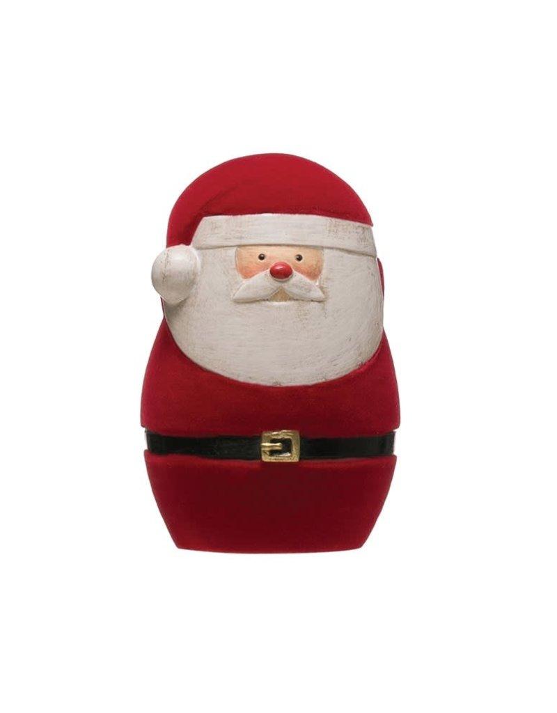 "3"" H Resin Flocked Santa, Red"