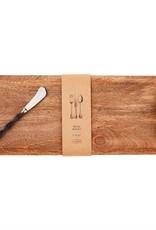 Leather Handle Rectangle Wood Board Set