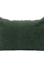 Linen Blend Pillow, frayed edges, green