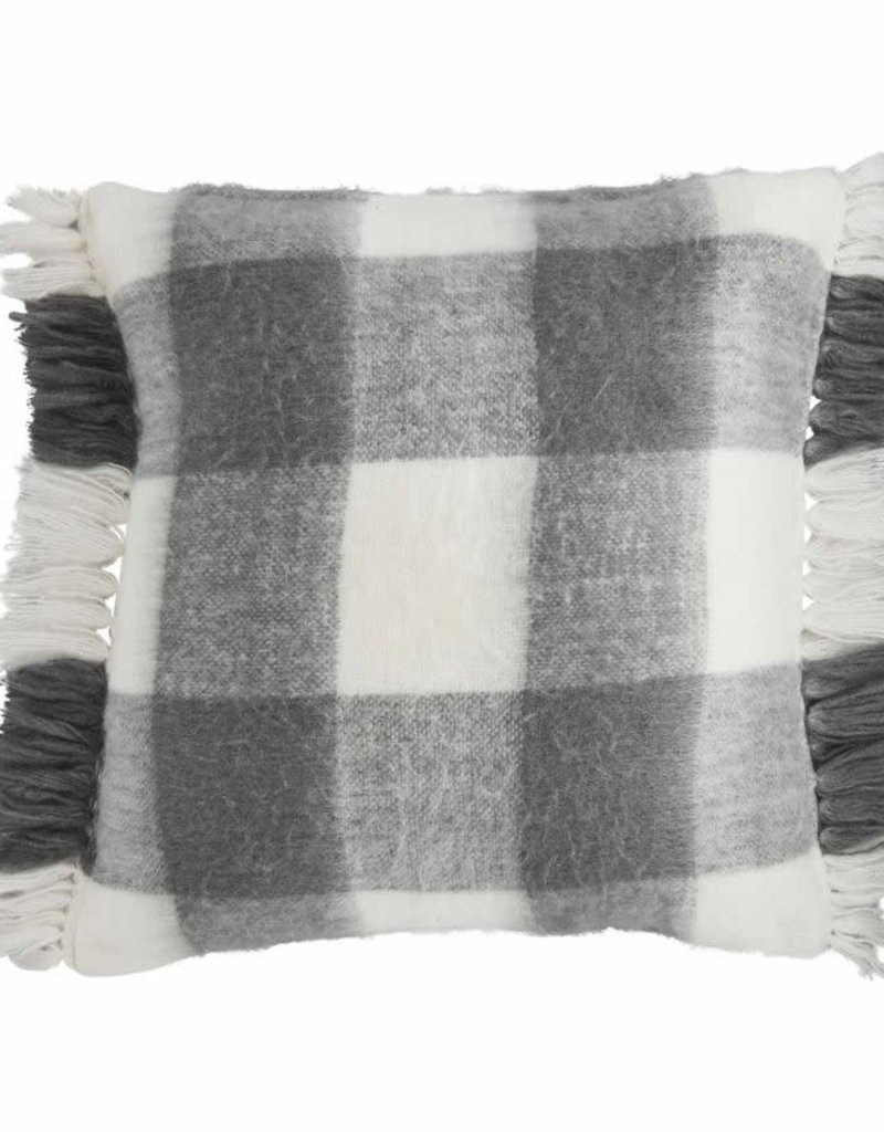 Gray Checked Brushed Pillow