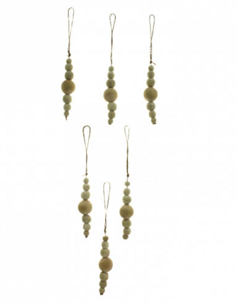 """S/6 Natural Bead Ornaments, 4.5""""long"""