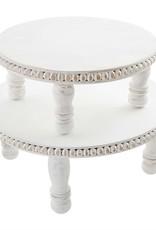White Beaded Round Pedestal Tray