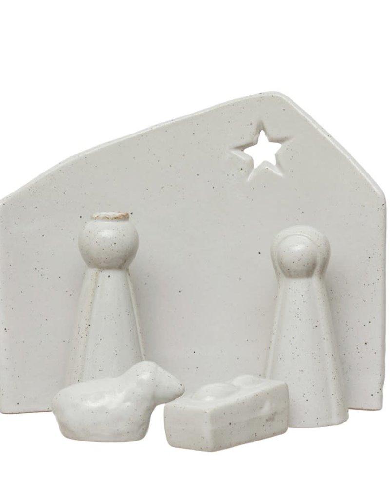 "6""H Stoneware Nativity, Reactive Glaze, White, Set of 5"