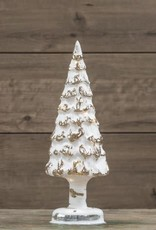"""Lighted White Glass Tree, 13""""H"""