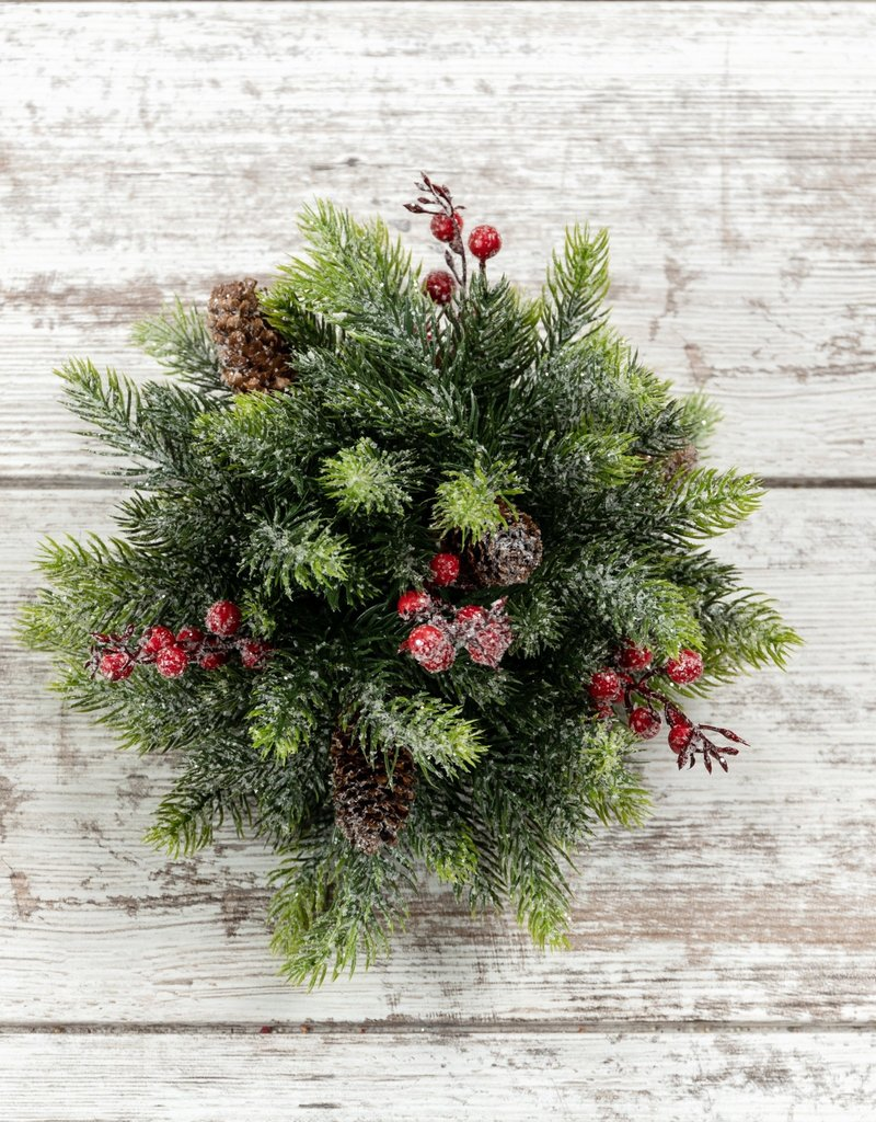 """6.5"""" Frosted Spruce, Cone, and Berries Ball"""