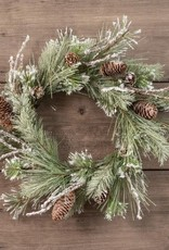 "14"" Snowy Pine Wreath w/Twigs & Cones"