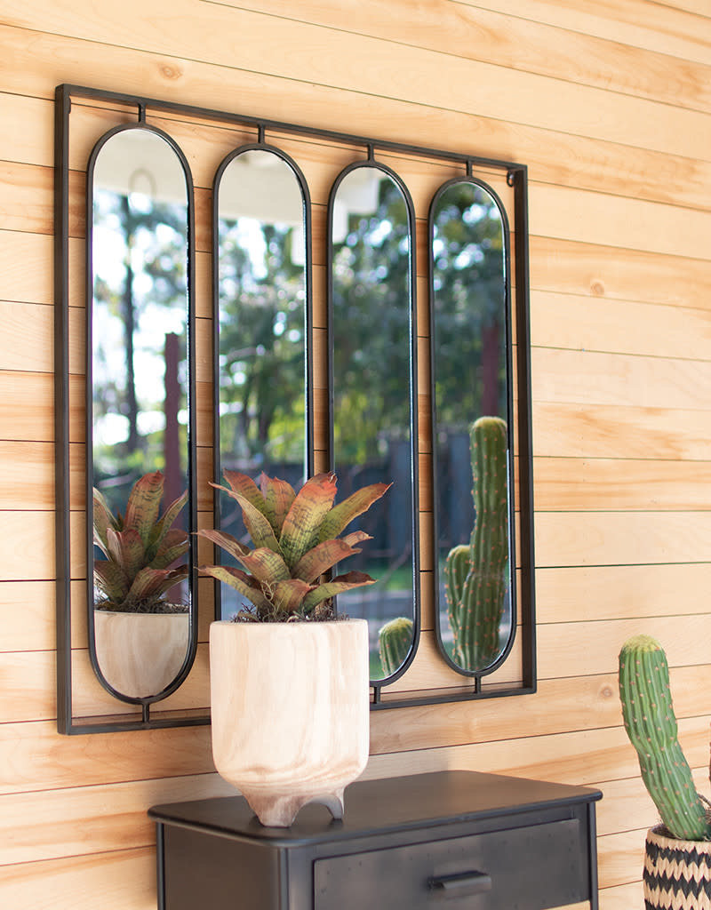 Four oval mirrors w/square metal frame