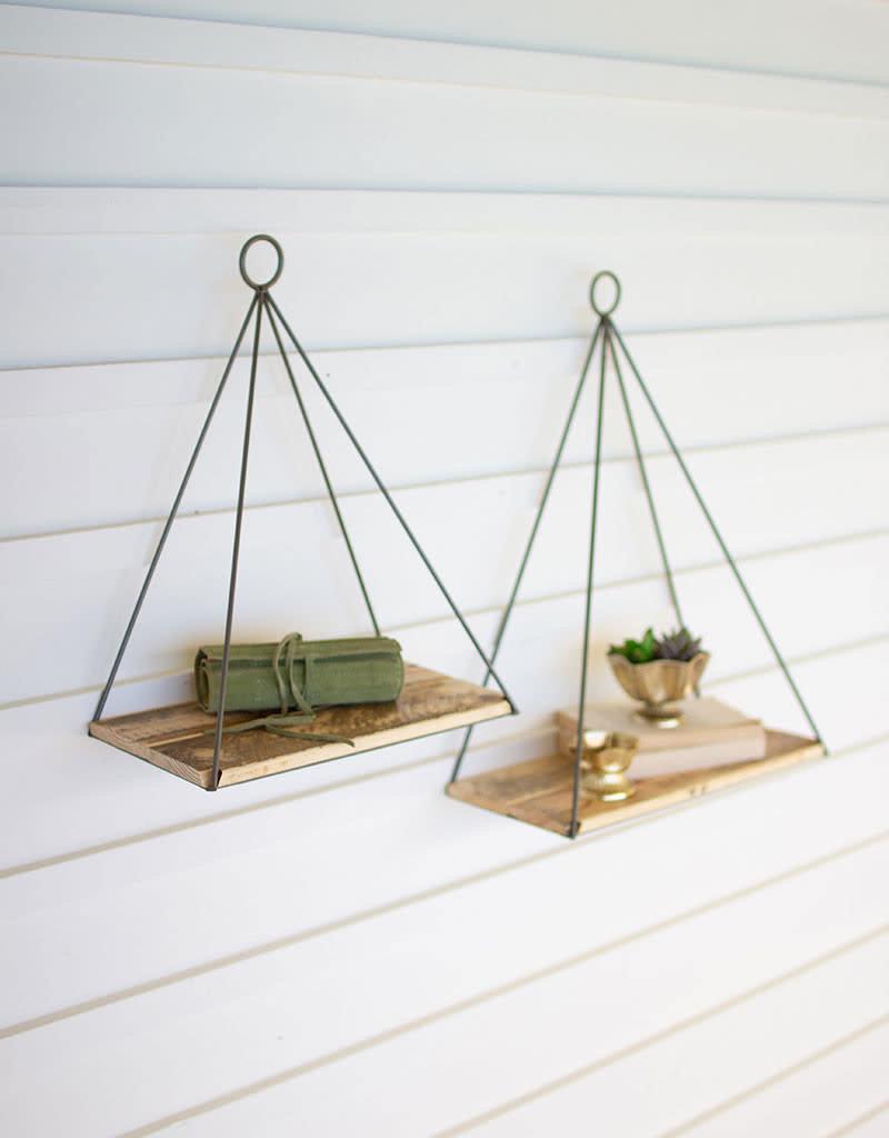 Triangle Shelf w/Recycled Wood