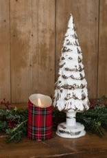"""Lighted White Glass Tree, 16""""H"""