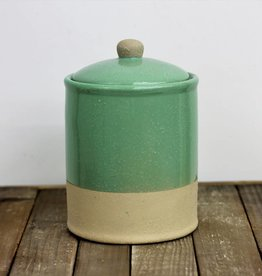 Round stoneware jar, teal