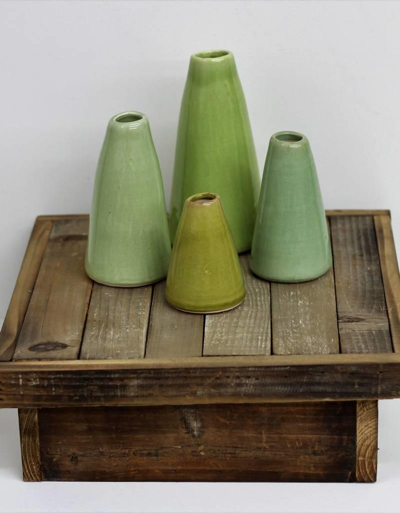 green terra cotta vases