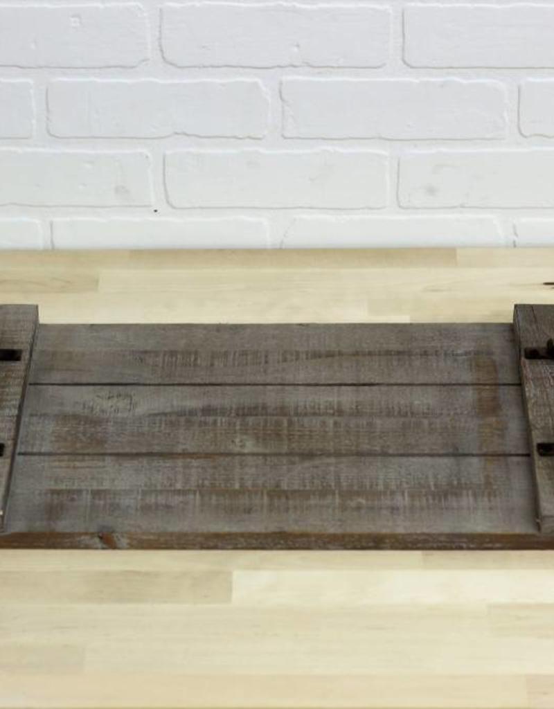 Wood Tray w/metal Handles