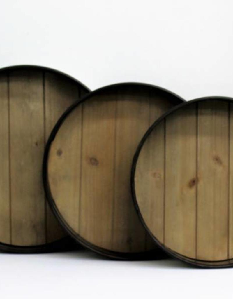 Round Metal & Wood Tray (3 sizes available)