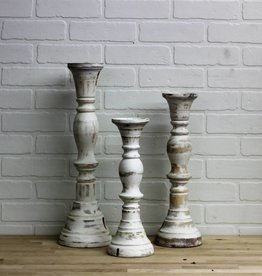 White hand turned candlesticks