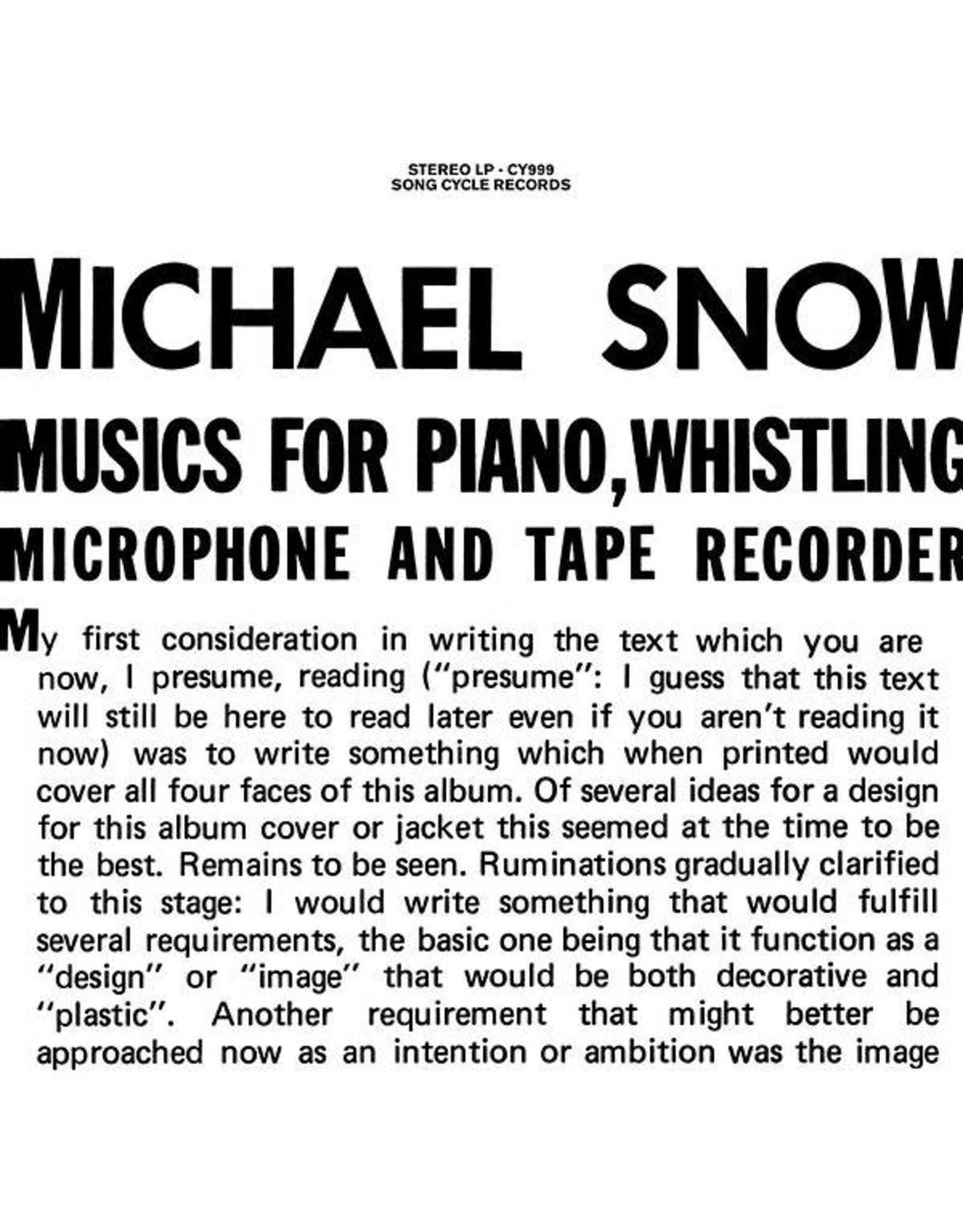 Song Cycle Snow, Michael: Music for Piano, Whistling, Microphone & Tape Recorder LP