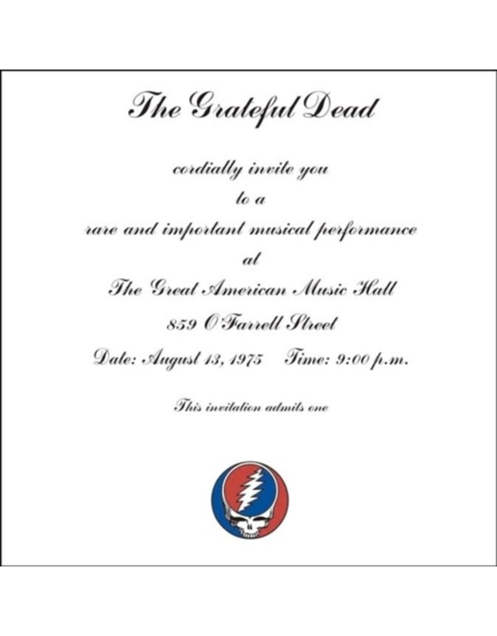 Future Days Grateful Dead One From The Vault: Live at the Great American Music Hall, San Francisco 8/13/75 3LP