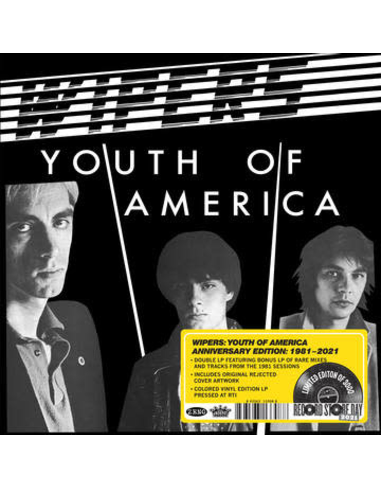 Jackpot Wipers: 2021RSD1 - Youth Of America (2LP-clear/black swirl) LP