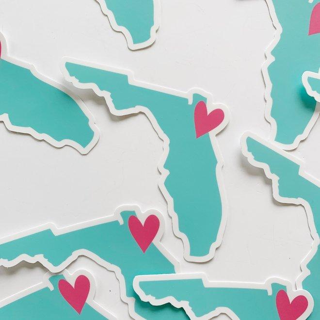 Florida Heart Sticker