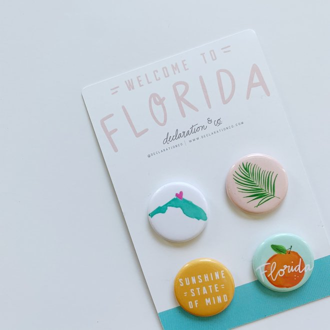 Welcome to Florida Button 4-pack