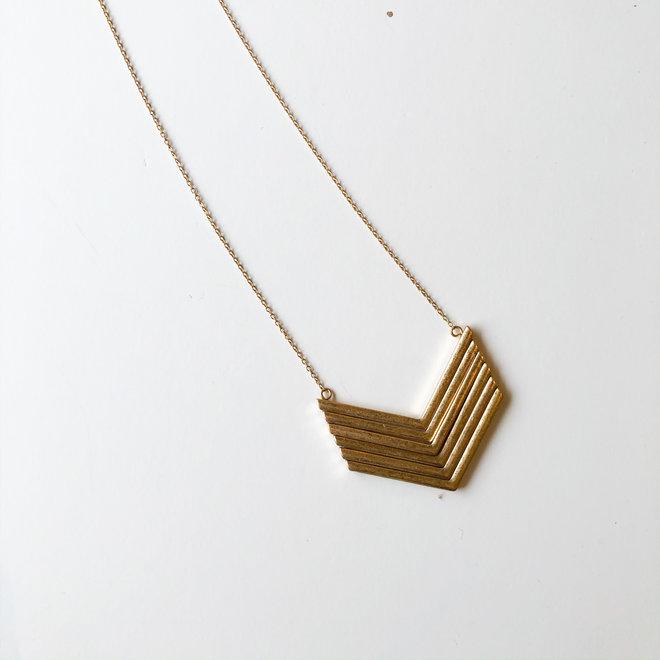 Antiqued Gold Chevron Long Statement Necklace