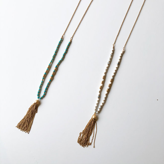 Beaded Tassel Long Statement Necklace