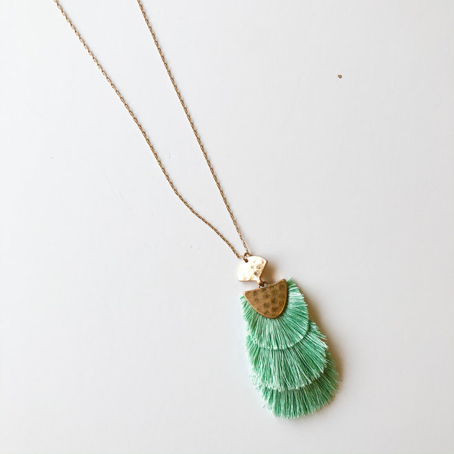 Life of the Party Mint Fringe Long Statement Necklace