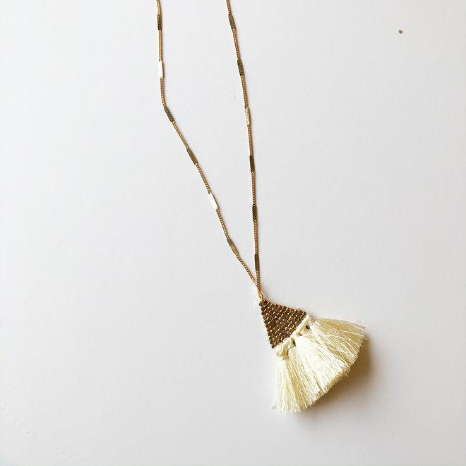 Mystic Woods Fringe Long Statement Necklace